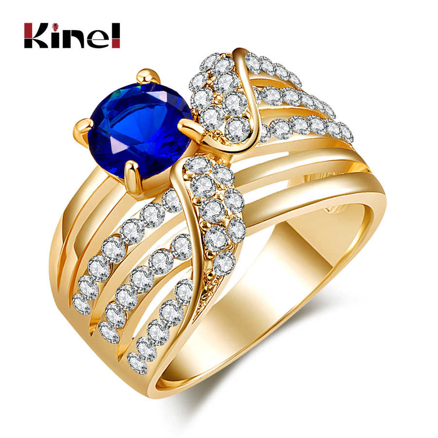 Kinel Fashion Vintage Rings Inlay Blue Gem Cover White Crystal Ancient Gold Color Jewelry For Woman Wedding Decor