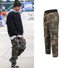 Kamuflajlı kargo pantolon erkekler Vintage çok cep alt düğme erkek pantolon Streetwear tüm maç askeri pantolon