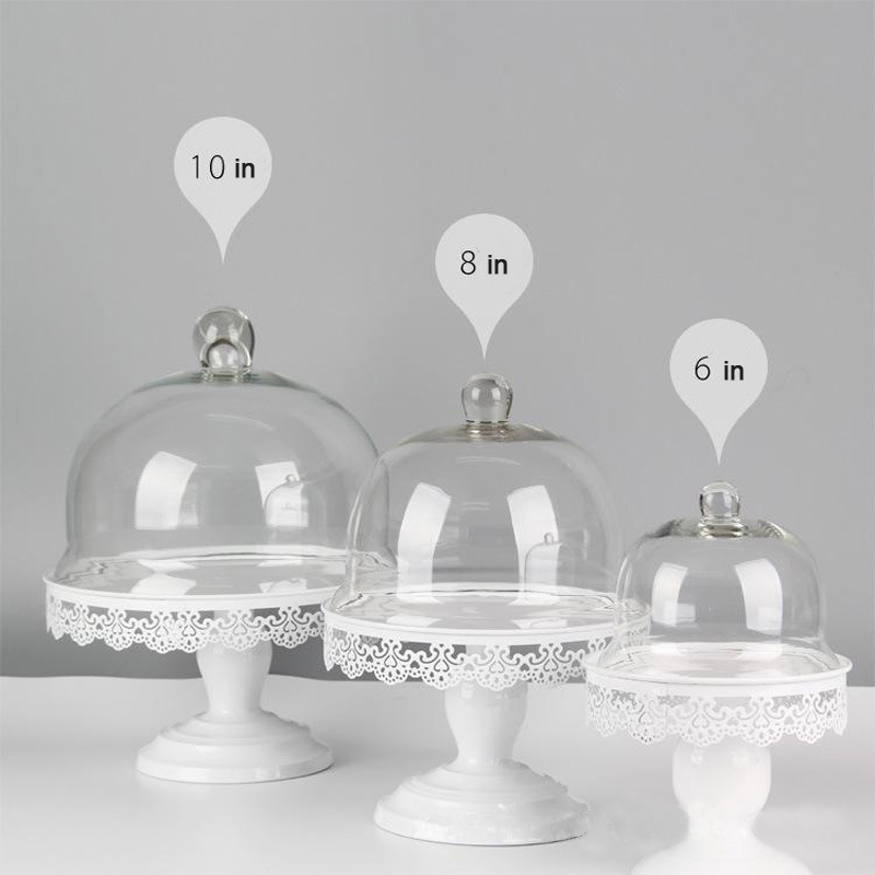 1 Pcs Lace Pattern Wedding Decorative Cake Stand Fruit Dessert Plate With Glass Cover White Color