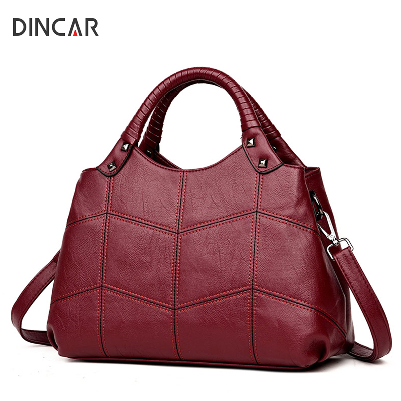 DINCAR Fashion Plaid Thread Women Bag Patchwork Handbags Soft Pu Leather Shoulder Bag Messenger Ladies Diamond Lattice Tote Bag гегузин я капля третье издание