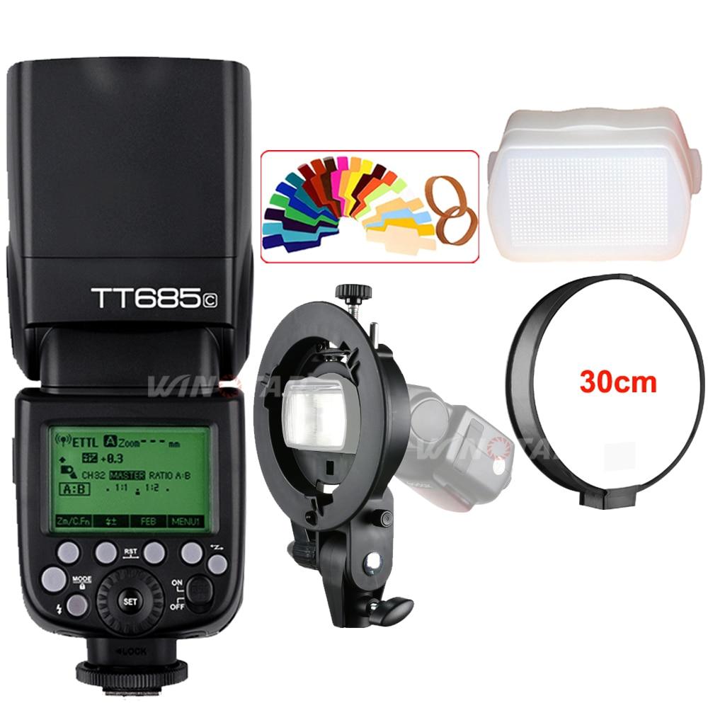 Godox TT685 TT685C 2.4G Wireless HSS 1/8000s TTL Camera Flash Speedlite + Bowens S-Type Bracket for Canon DSLR Cameras godox tt685 tt685c 2 4g wireless hss 1 8000s ttl camera flash speedlite bowens s type bracket for canon dslr cameras