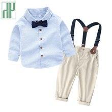 Kids clothing Long Sleeve Bowtie Children Gentleman stripe Print Top T-Shirt Overall Pants Baby toddler boy Clothing Set