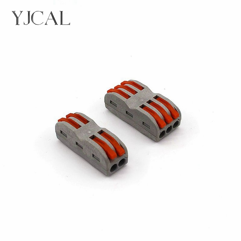YJCAL Wago Wire Connector 10PCS Cage Spring New Universal Docking Fast Wiring Conductors Terminal Block Auto Connectors China wire connector terminal block connector row column fast spring push type docking three ch 3