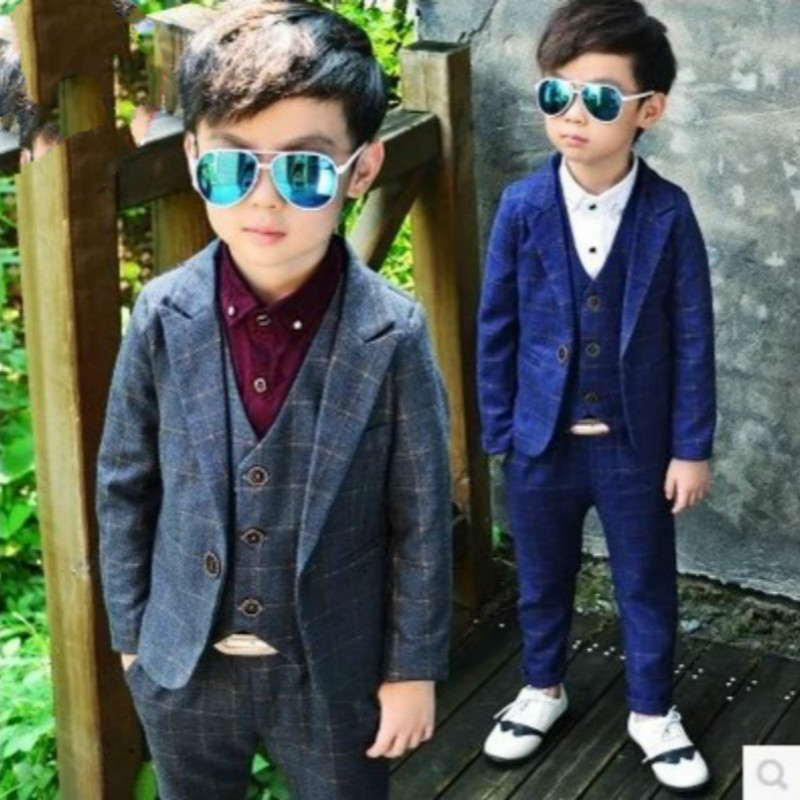 2017spring New Child Blazers Suits Boy Clothing sets Coat + Pants + waistcoat Baby Costumes plaid Kids Garment gray/dark blue 2016 baby boy sets new style autumn spring baby clothing sets 2pc suits red plaid dark blue blazer infant set boys suits blazers