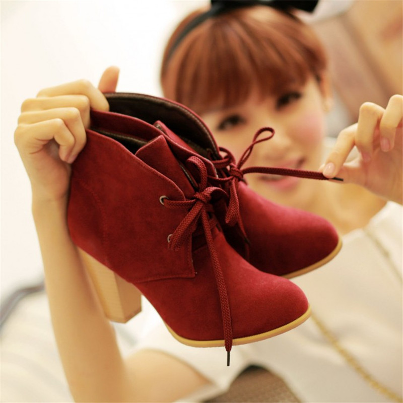 2016 Shoes woman high heels ankle boots solid flock lace up botas round toe fashion ladies short martin plus size eu42