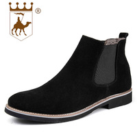 BACKCAMEL Chelsea Flat Boots Leather Men Short Boots British Sleeve Boots Lace up Oxfords Daily Casual Flock Men's Shoes