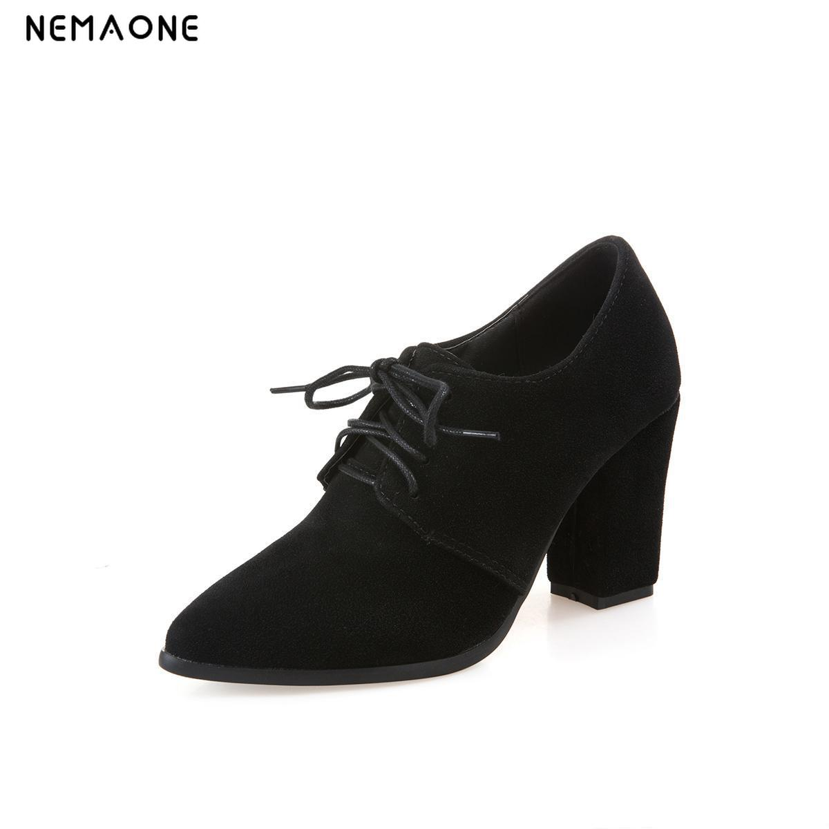 NEMAONE New Spring Autumn poined Toe Women Shoes Square Heels Lace Up Party Pumps Size 34-43 dress shoes woman  xiaying smile woman pumps shoes women spring autumn wedges heels british style classics round toe lace up thick sole women shoes