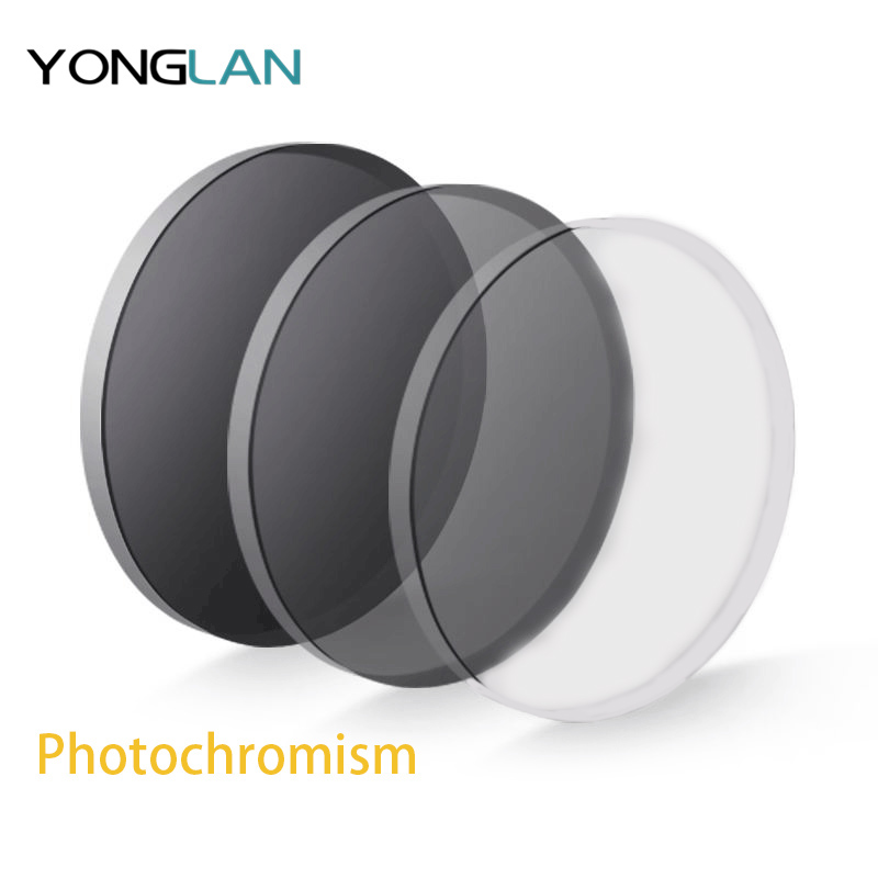 Yong Lan Photochromism Gray Bronw Lenses 1 56 1 61 1 67 Index Myopia Lens Prescription Glasses Aspheric Astigmatism UV400 in Eyewear Accessories from Apparel Accessories