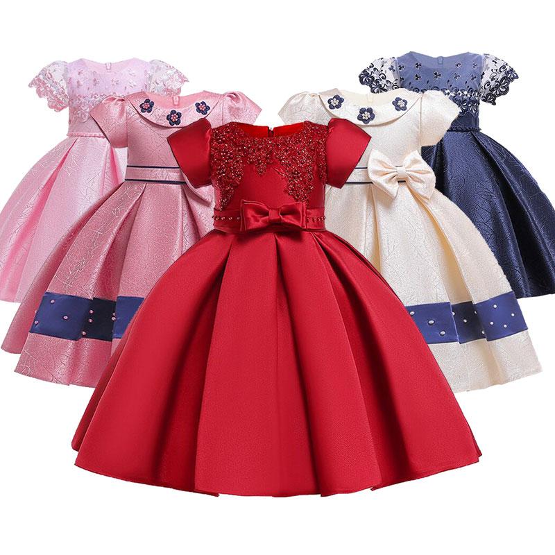 Beading   flower     girls     dress   kids elegent bow tutu clothing baby princess party clothes children custumes 3-10 years clothing