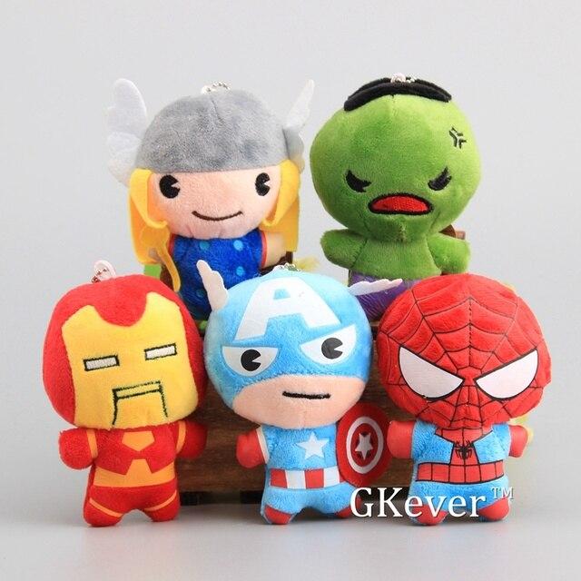 Bonito Mini pçs/lote 5 Vingadores Homem De Ferro Hulk Thor Capitão América Spiderman Plush Keychain Pequeno Macio Stuffed Dolls 11 cm