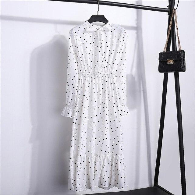 2020 Autumn Women Dress For Female Long Sleeve Chiffon Shirt Dress A-line Midi Winter Dress White Bow Floral Vestidos Vintage