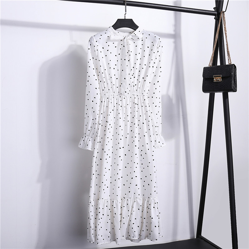 2021 Autumn Women Dress For Female Long Sleeve Chiffon Shirt Dress A line Midi Winter Dress White Bow Floral Vestidos Vintage
