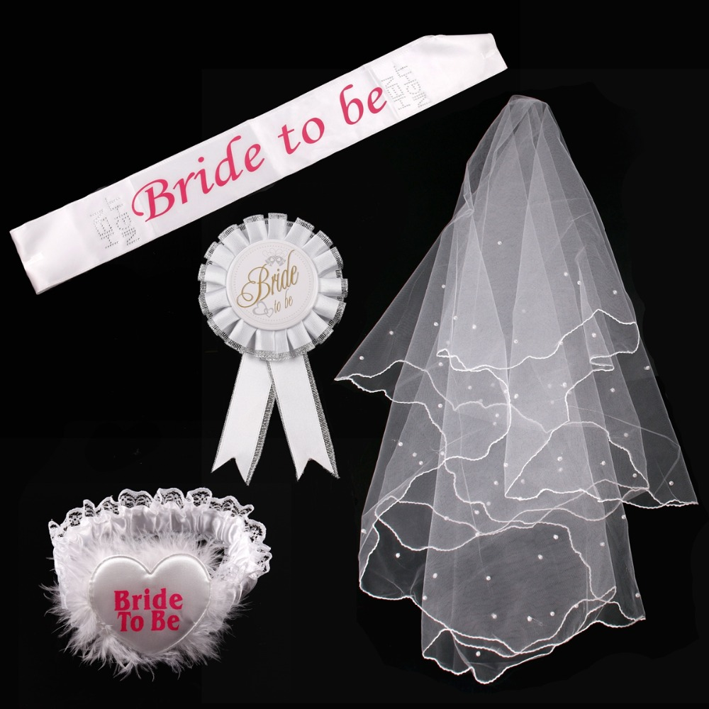 QIFU Bride to Be Satin Ribbon Sash and Veil Boda Hen Bachelorette Party Decor Bridal Shower Bachelor Wedding Team
