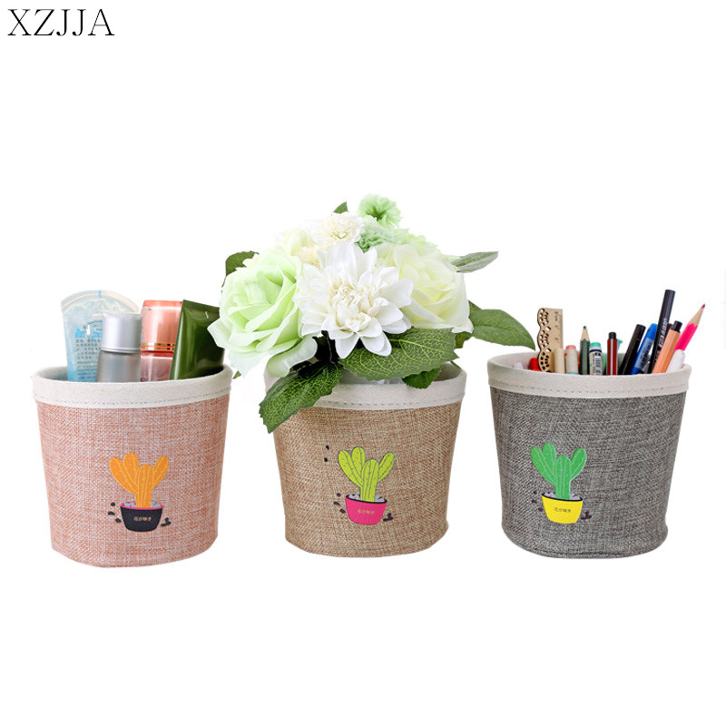 XZJJA Cute Printing Plant Cactus Desktop Storage Box Canvas Sundries Organizer Container Stationery Cosmetic Storage Basket Case
