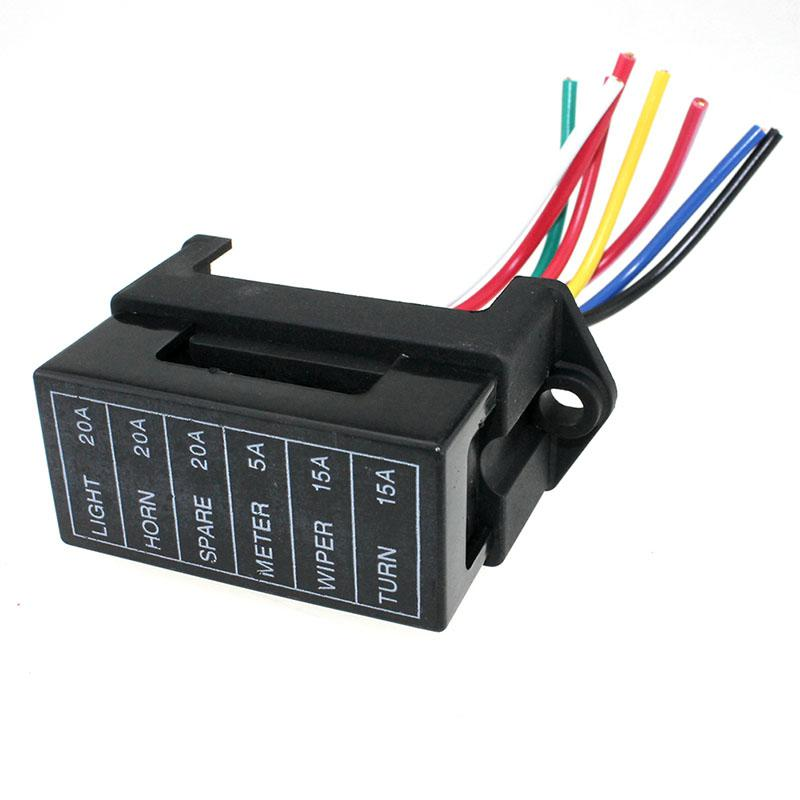 lumiparty 6 way dc32v circuit car trailer auto blade fuse. Black Bedroom Furniture Sets. Home Design Ideas