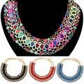 Women's Rhinestone Braided Pendant Collar Statement Chain Charm Necklace Jewelry
