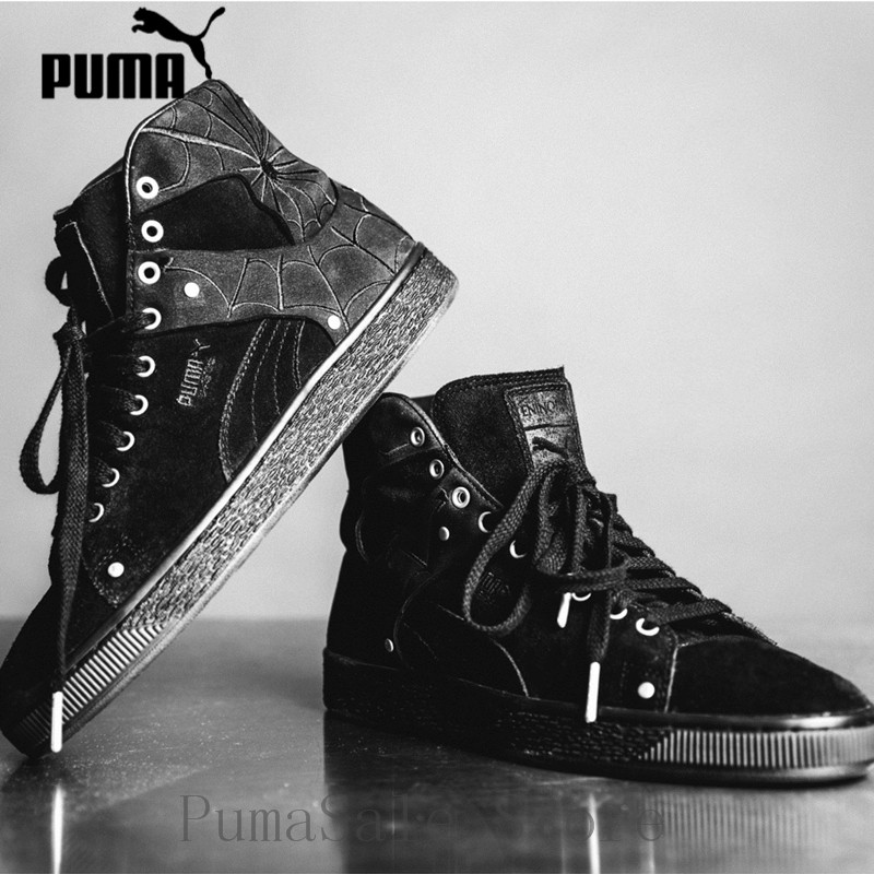 separation shoes 05198 416f5 2019 Puma Suede Classic X EN NOIR Men And Women Shoes Spider Pattern  366319-01 Sneaker High-Top Black Badminton Shoes 35.5-44