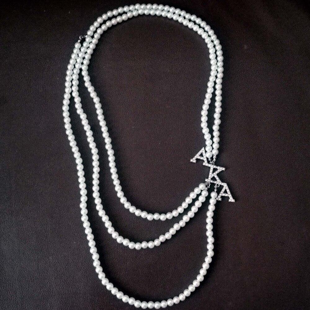 Topvekso Greece Greek Sorority Pearl AKA Symbol Multilayer Statement Alpha Kappaa Alpha Jewelry Long Choker