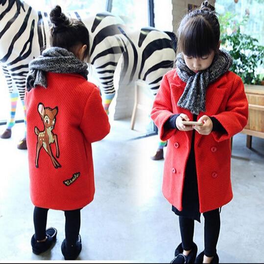 Новые девушки с отложным воротником с Outerwears пальто дети с длинным рукавом мультфильм животных длинные пальто дети двубортный куртки