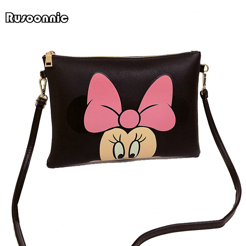Wanita Hello Kitty Messenger Bags Minnie Mickey Bag Leather Handbags Clutch Bag Bolsa Feminina mochila Bolsas Female sac a main