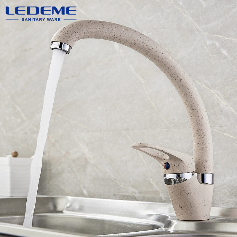LEDEME Faucet Brass Kitchen Mixer Cold And Hot Single Handle Swivel Spout Kitchen Water Sink Mixer Tap Faucets L5913 4 Color antique brass swivel spout dual cross handles kitchen