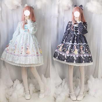 Cute Dessert Rabbit Buny OP Lolita Women Dress Fairy Kei Print Long Sleeve Cross Tie Lace Trim Bows Fancy Dolly Dress 3Color - DISCOUNT ITEM  13% OFF All Category