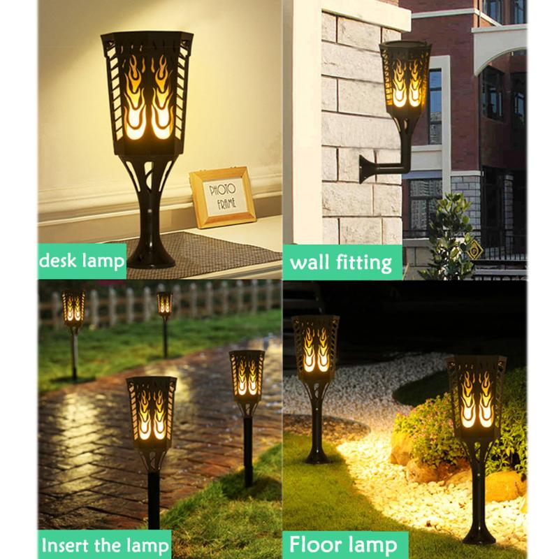 Portable Waterproof IP65 LED Solar Dancing Flame Lamp Night Light For Garden Courtyard Floor Wall Desk Decorative High Quality
