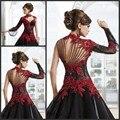 Victorian Gothic Masquerade Balón vestido de Cuello Alto de encaje Negro Y Rojo Vestido De Boda Árabe de Manga Larga vestido de noiva vermelho