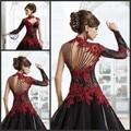 Vitoriano Gótico Masquerade Alta Pescoço vestido de Baile Preto E Vermelho do laço Vestido De Casamento Árabe com Mangas Compridas vestido de noiva vermelho