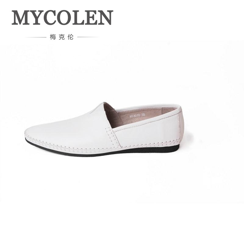 MYCOLEN New Fashion Men Brand Leather Loafers Italian Men Dress Shoes Summer Breathable Men's Flats Wedding Loafers Shoes