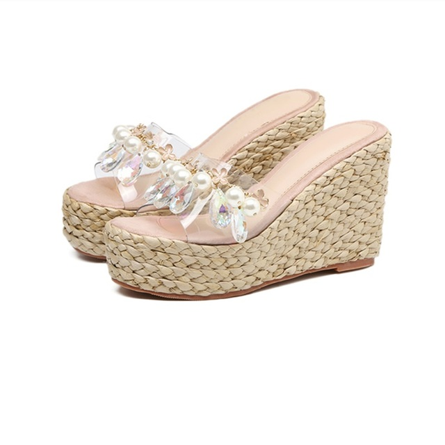 631258f7e Sexy PVC Transparent Wedge Sandals For Women Crystal Embellished Rope  Braided Flat Platform Slippers Summer Beach