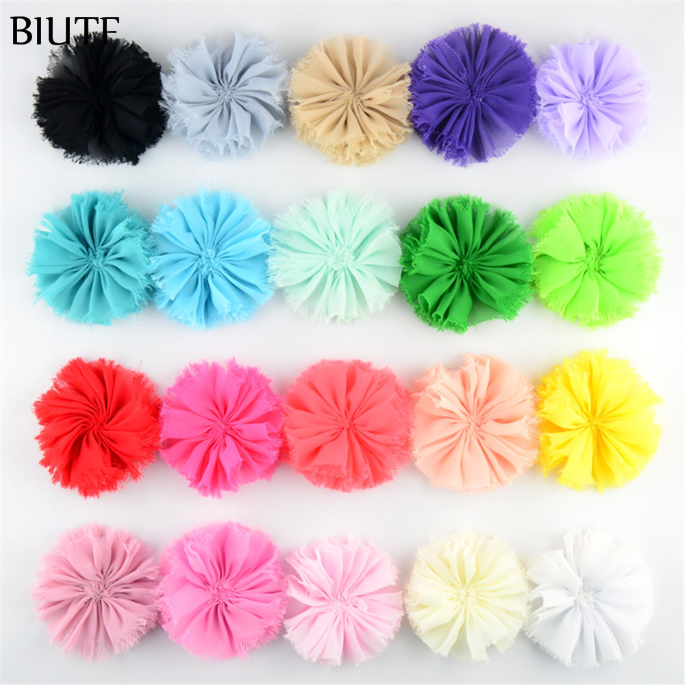 120pcs/lot 3.15 Artificial Fabric Frayed Chiffon Flower Chic Shabby Floral with Fat Back Newborn Headband Hair Accessory TH217