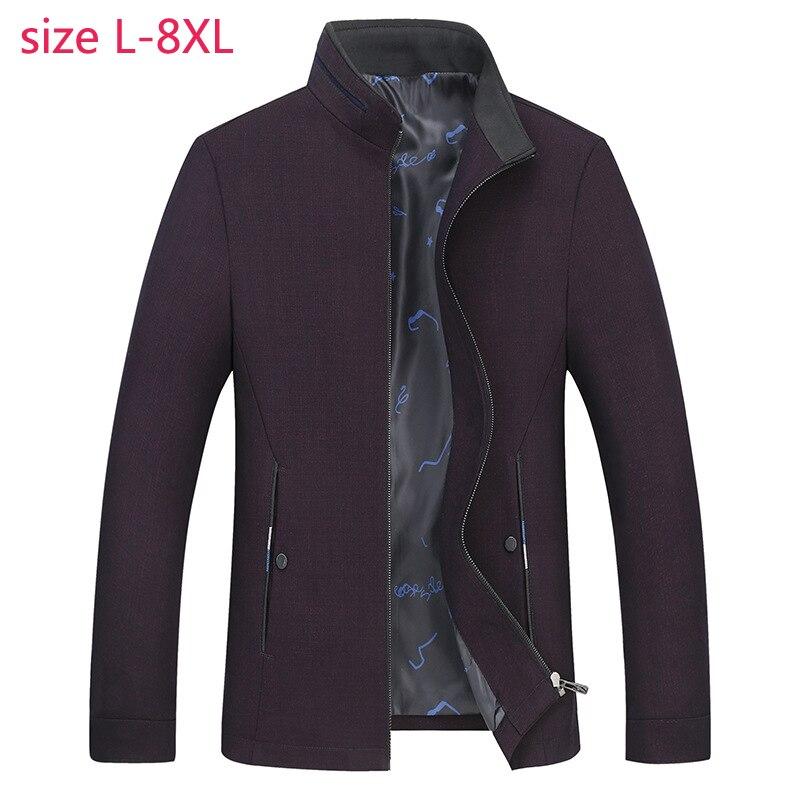 2019 جديد ربيع الخريف سوبر كبير الدائمة طوق سترة عارضة فضفاض الأزياء عالية الجودة زائد حجم LXL2XL3XL4XL5XL6XL7XL8XL-في جواكت من ملابس الرجال على  مجموعة 1