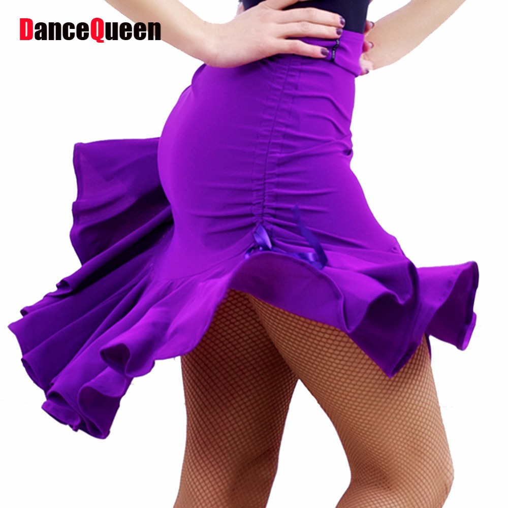 2017 New Lady Latin Dance Skirt For Womens Purple/Black Adjustable Styles Latin Dance Dress Competition/Practice Dancewear