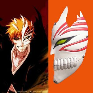 Bleach cosplay Kurosaki Ichigo bankai Half Hollow Mask (white) Cosplay Accessory For Men Halloween Party Mask