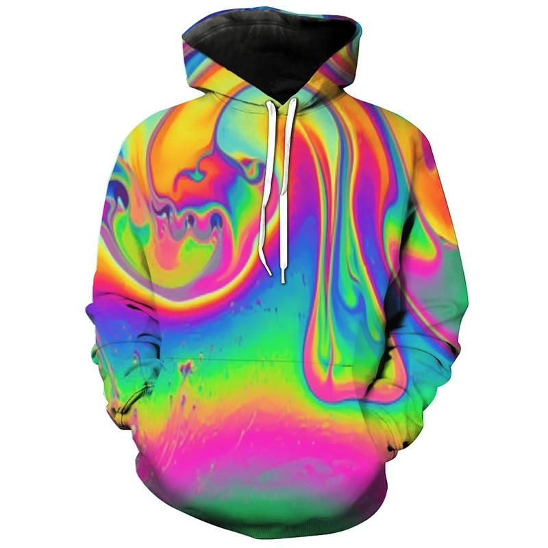 Cloudstyle 2020 3D Hoodies Men Hoody Pullover Oil Spill Color 3D Print Men Women Sweatshirt Tracksuit Streetwear Hipster Top