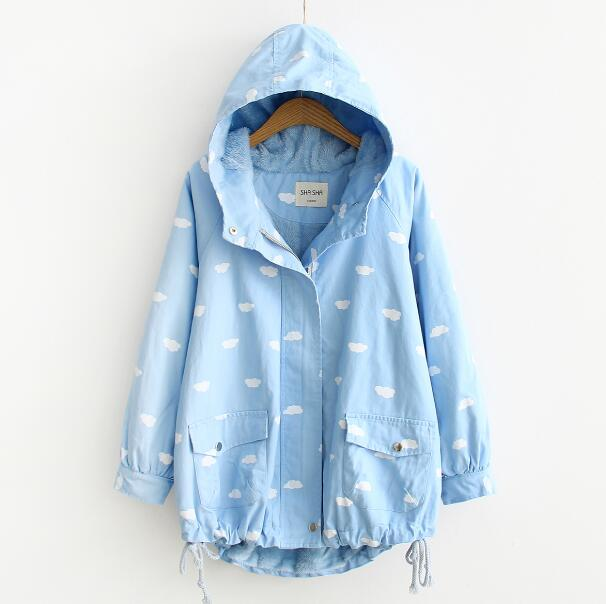 white clouds Small fresh printing Hooded Thicker jacket long sleeve coat 2017 autumn winter