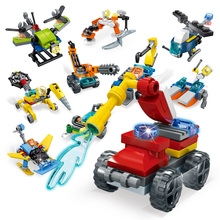City Rescue Team Engineering Building Blocks Helicopter Vehicle Model Blocks Bricks Children Educational Toys lepin 20055 1180pcs technic mechanical series the rescue vehicle set 42068 children educational building blocks bricks toy gift