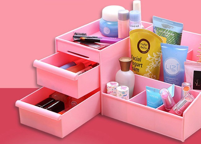 1PC Multi grid plastic box desktop storage box cosmetic case remote control holder objects Container makeup organizer OK 0219 in Storage Boxes Bins from Home Garden