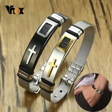 Vnox Adjustable Length Bracelet for Women Men Bangle Watch Band Design Stainless Steel Net Band Christ Cross Prayer Male Jewelry(China)