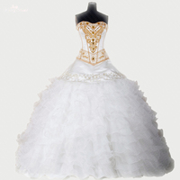 RSE275 High Quality Yiaibridal Sweetheart Neckline Organza Ruffles Puffy Beaded Gold White 2 Piece Quinceanera Dresses