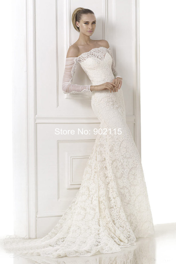 Elegant 60 New Design Off Shoulder Long Sleeve Lace Wedding Dress Custom Patterns For Wedding Dresses