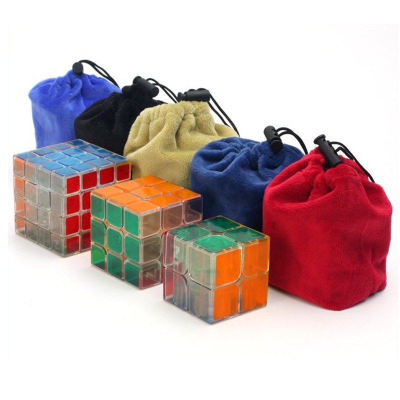 Protective Speed Cube Bag For 2x2 3x3 4x4 Layer Magic Cube Bags Puzzles Flannel Protection Pouch Size Thick Soft Cube Bag