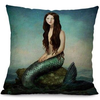 Dark Haired Mermaid Cushion Covers 4