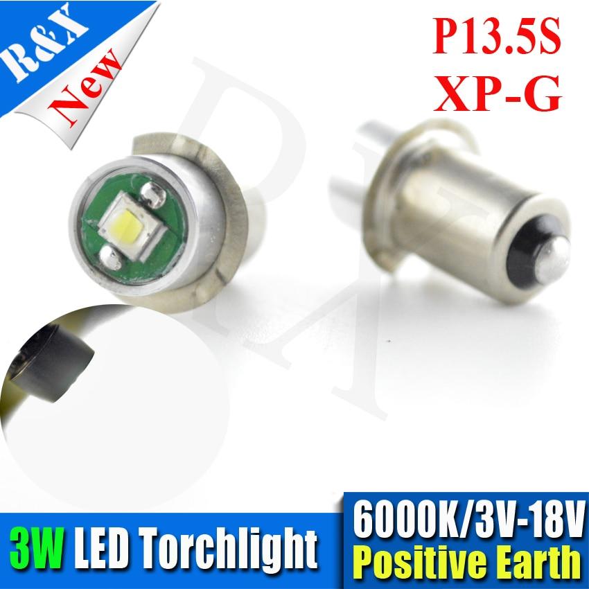 2pcs/lot CRE XPG2 Maglite Led Upgrade light Kit Bright White 3W P13.5s PR2 PR3 PR4 3V-18V maglite