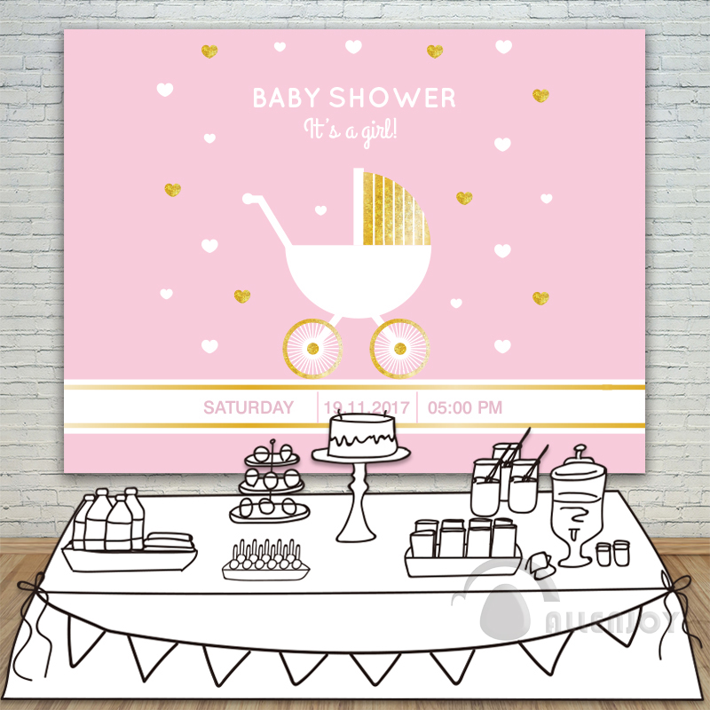 It is A Girl Baby Shower Backdrop Stroller Invitation celebration Party Pink Background Heart date of birth Background Allenjoy allenjoy backdrops baby shower background pink stripe rose gold circle birthday invitation celebration party customize
