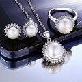 Lujo esterlina 925 joyería de plata pura perla natural de agua dulce blanco lindo de tres piezas de novia novia de regalo