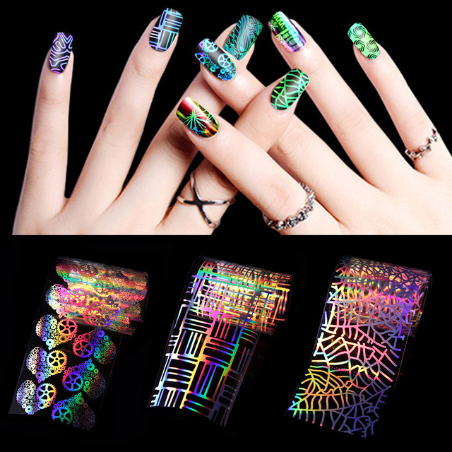 1Set 8 Styles DIY Holographic Colorful Rainbow Laser Starry Nail Art ...