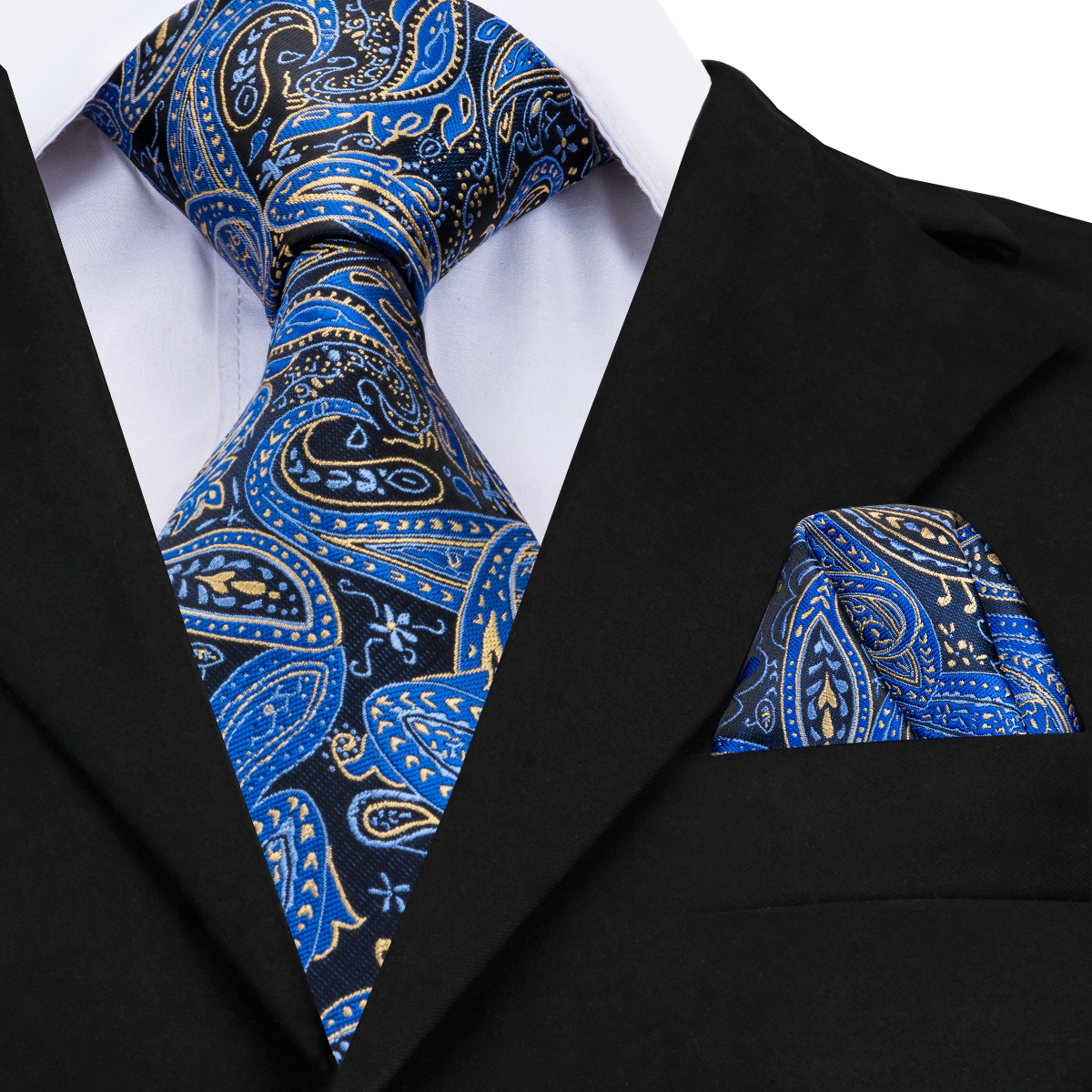 Hallo-Krawatte Herren Krawatten 2018 Luxus Paisley Blau Seide Krawatte mit Taschentuch Krawatte Set ohne Manschettenknöpfe Buisness jacquard Woven hals Binden CZ-008