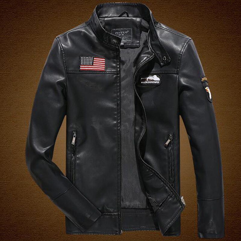 The new autumn and winter 2016 men's fashion casual leather men's leather jacket collar wild